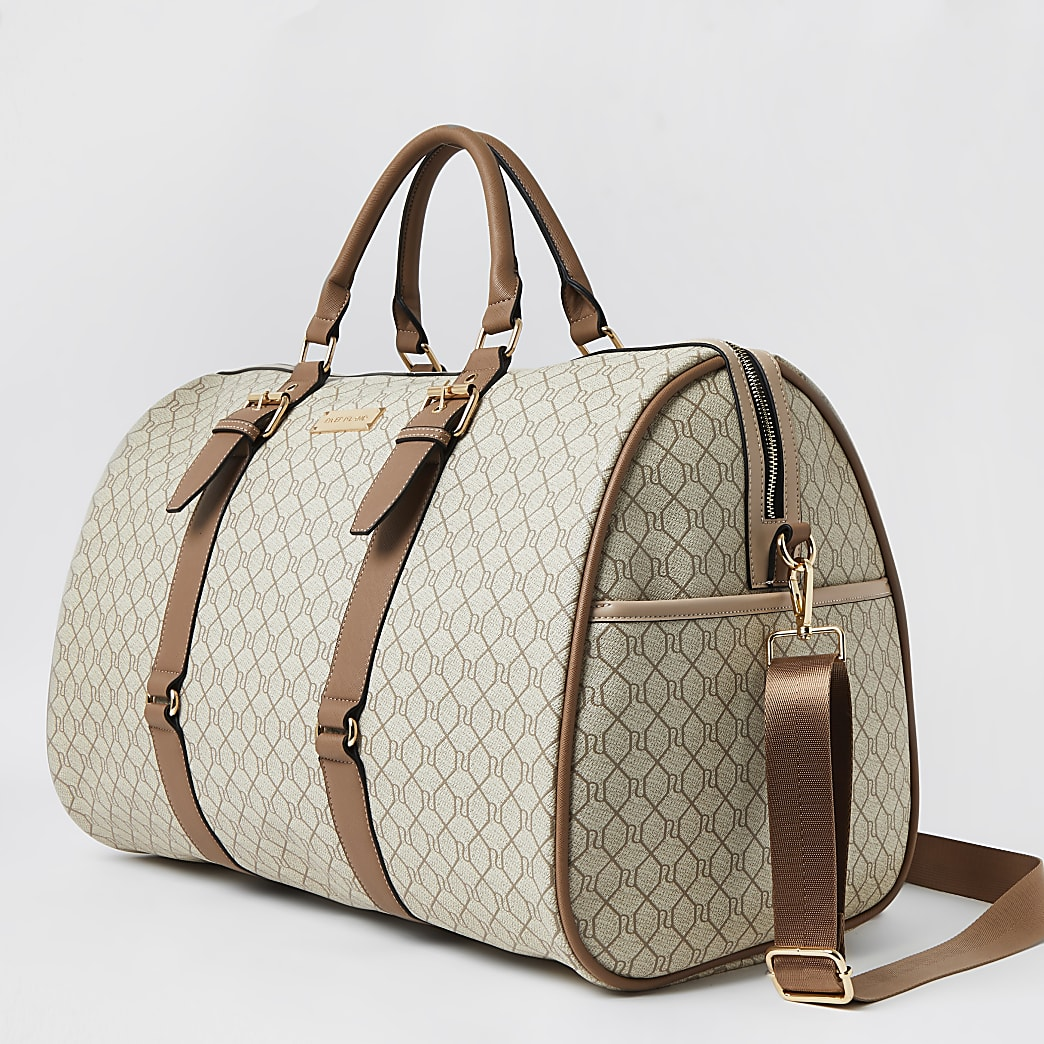 Beige RI Monogram large weekend duffle bag