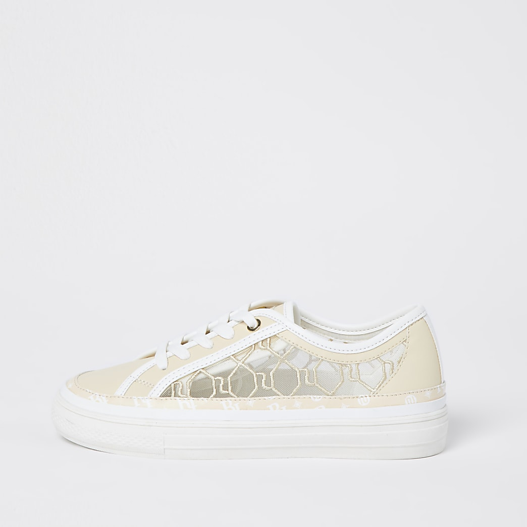 Beige RI monogram mesh lace up trainers