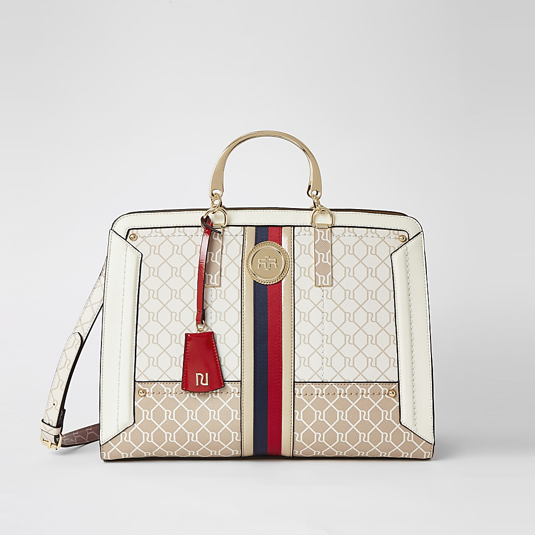 Beige RI monogram metal handle shopper bag