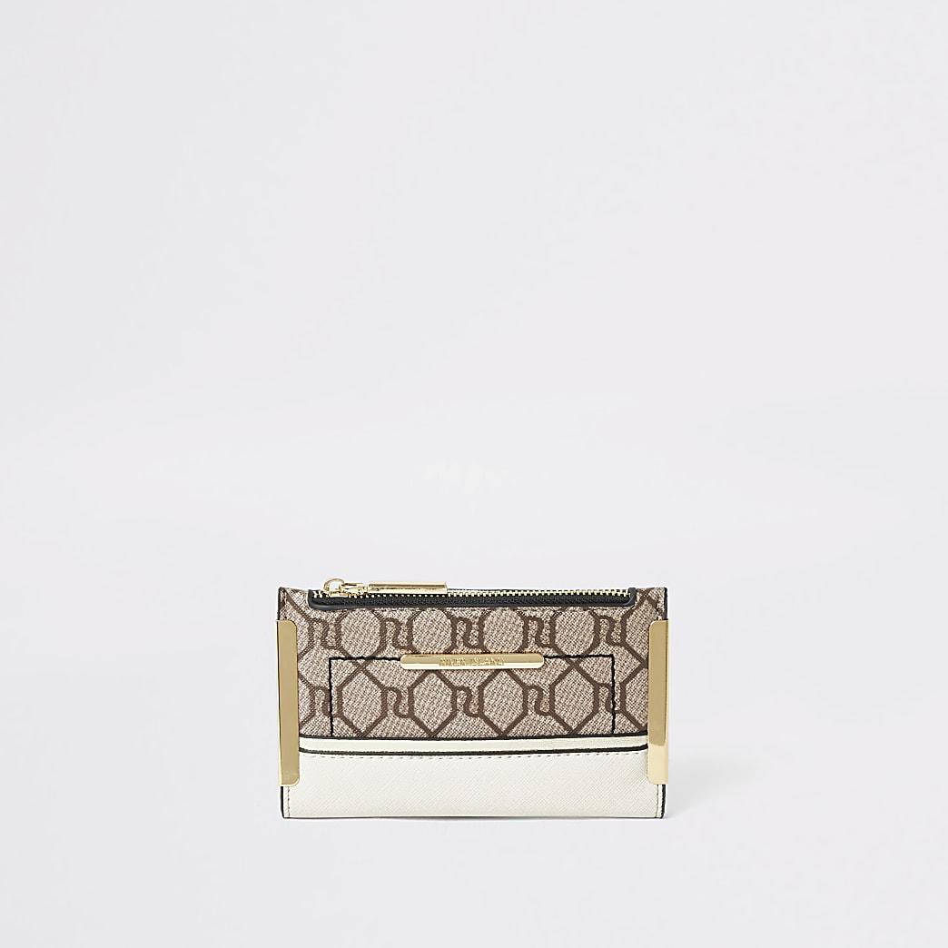 Beige RI monogram mini foldout purse
