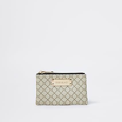 Beige RI monogram mini zip pouch purse