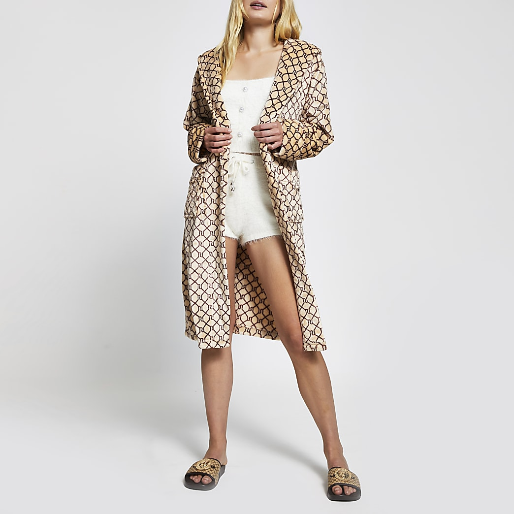 Beige RI monogram plush robe