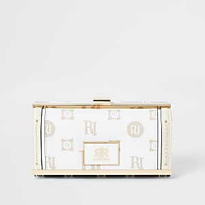 Beige RI monogram print cliptop purse