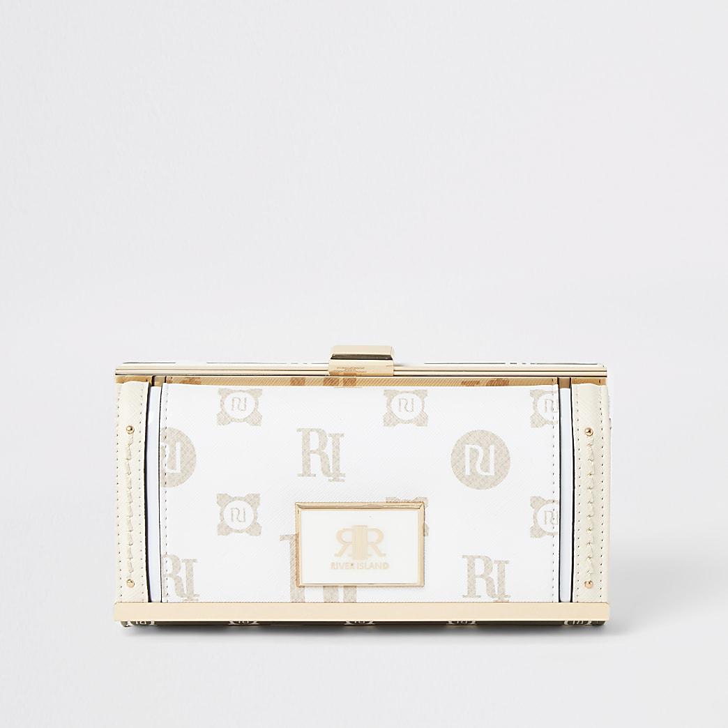 Beige RI monogram print cliptop purse