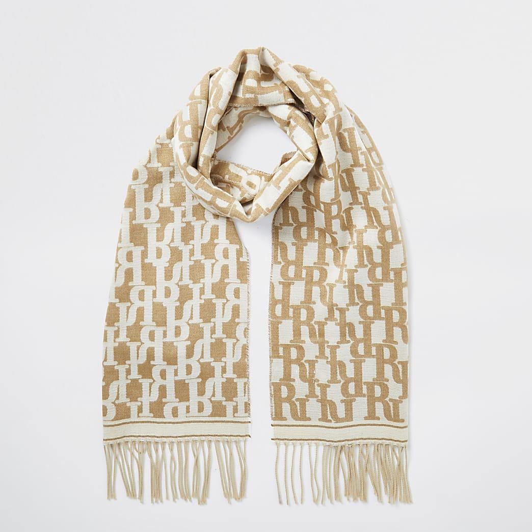 Beige RI monogram print fringe detail scarf