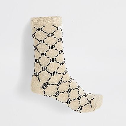 Beige RI monogram print lurex sock