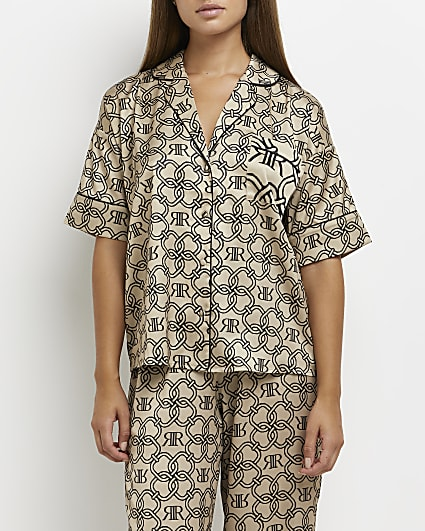 Beige RI monogram print pyjama shirt