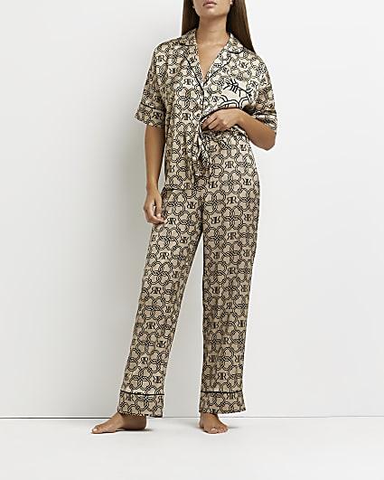Beige RI monogram print pyjama trousers