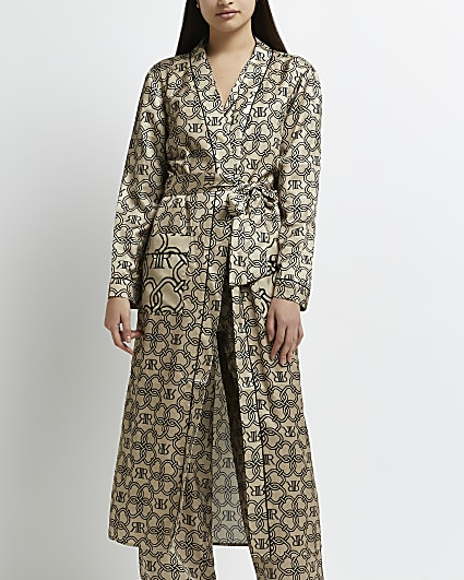 Beige RI monogram print robe