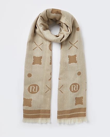Beige RI monogram print scarf