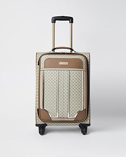 Beige RI monogram print suitcase