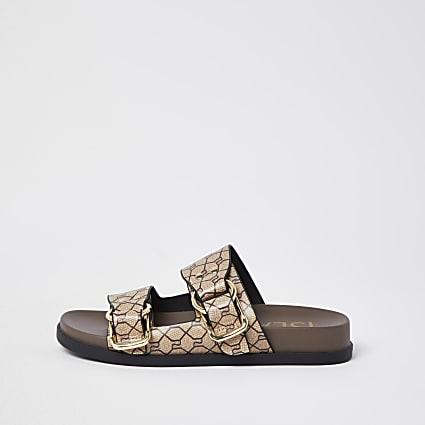 Beige RI monogram sandals