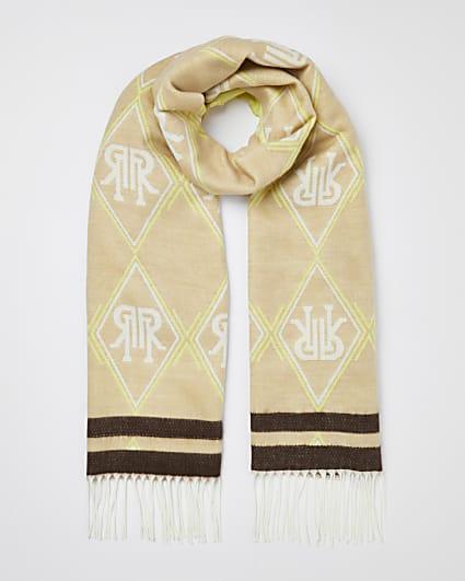 Beige RI monogram scarf