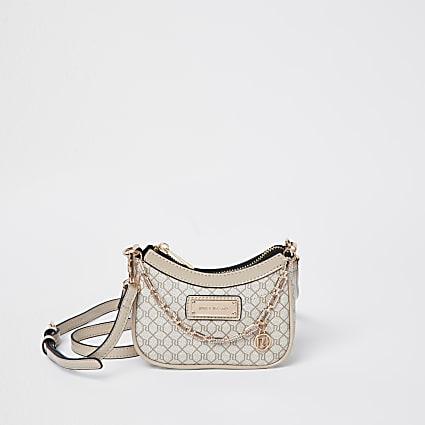 Beige RI monogram scoop shoulder bag