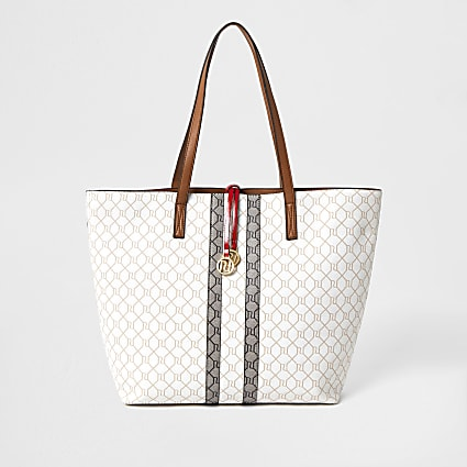 Beige RI monogram shopper Handbag