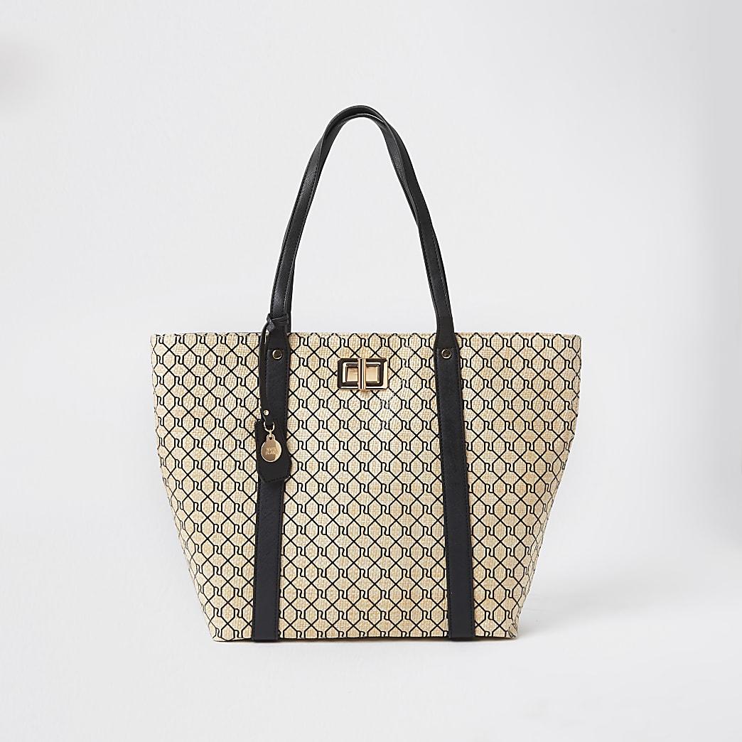 Beige RI monogram shopper Handbag