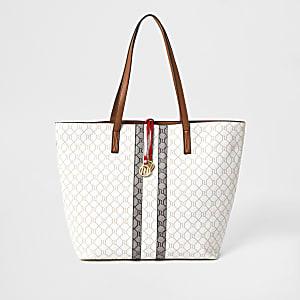 Shopper-Tasche in Beige mit RI-Monogramm