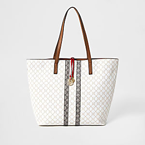 Beige shopper met RI-monogram