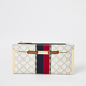 Beige RI monogram stripe fold out purse