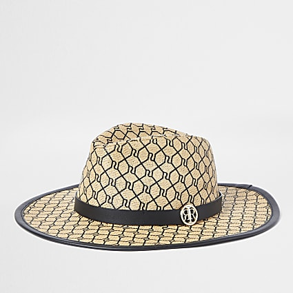 Beige RI monogram structured straw hat