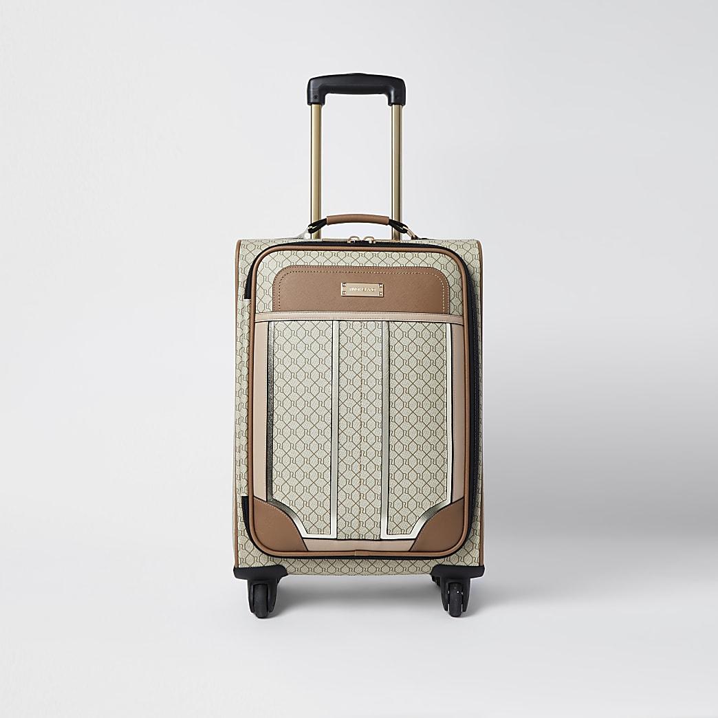 Beige RI monogram suitcase