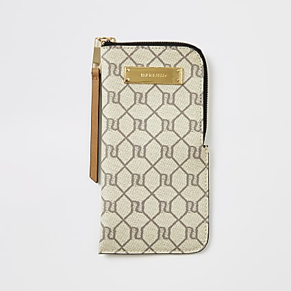 Beige RI monogram sunglasses case