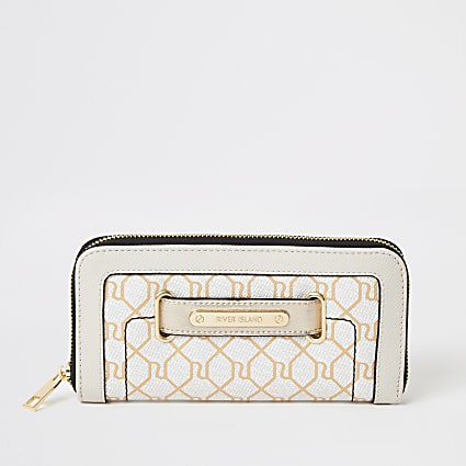 Beige RI monogram tab front zip around purse