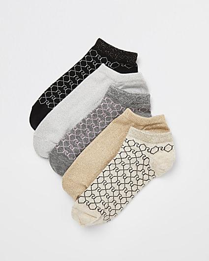 Beige RI monogram trainer socks multipack