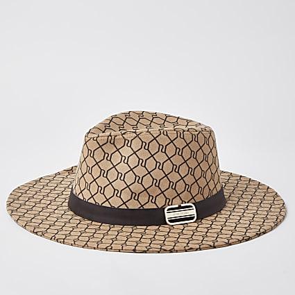 Beige RI monogram trim fedora hat