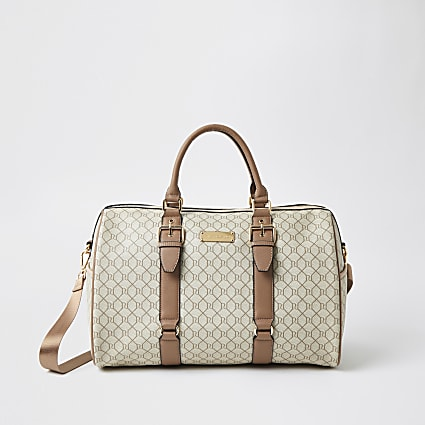 Beige RI Monogram weekend duffle bag
