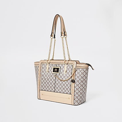 Beige RI monogram winged tote bag