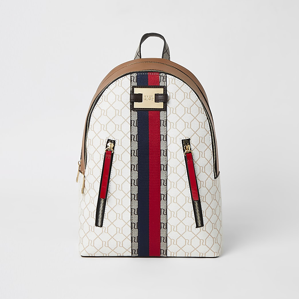 Beige RI monogram zip front backpack