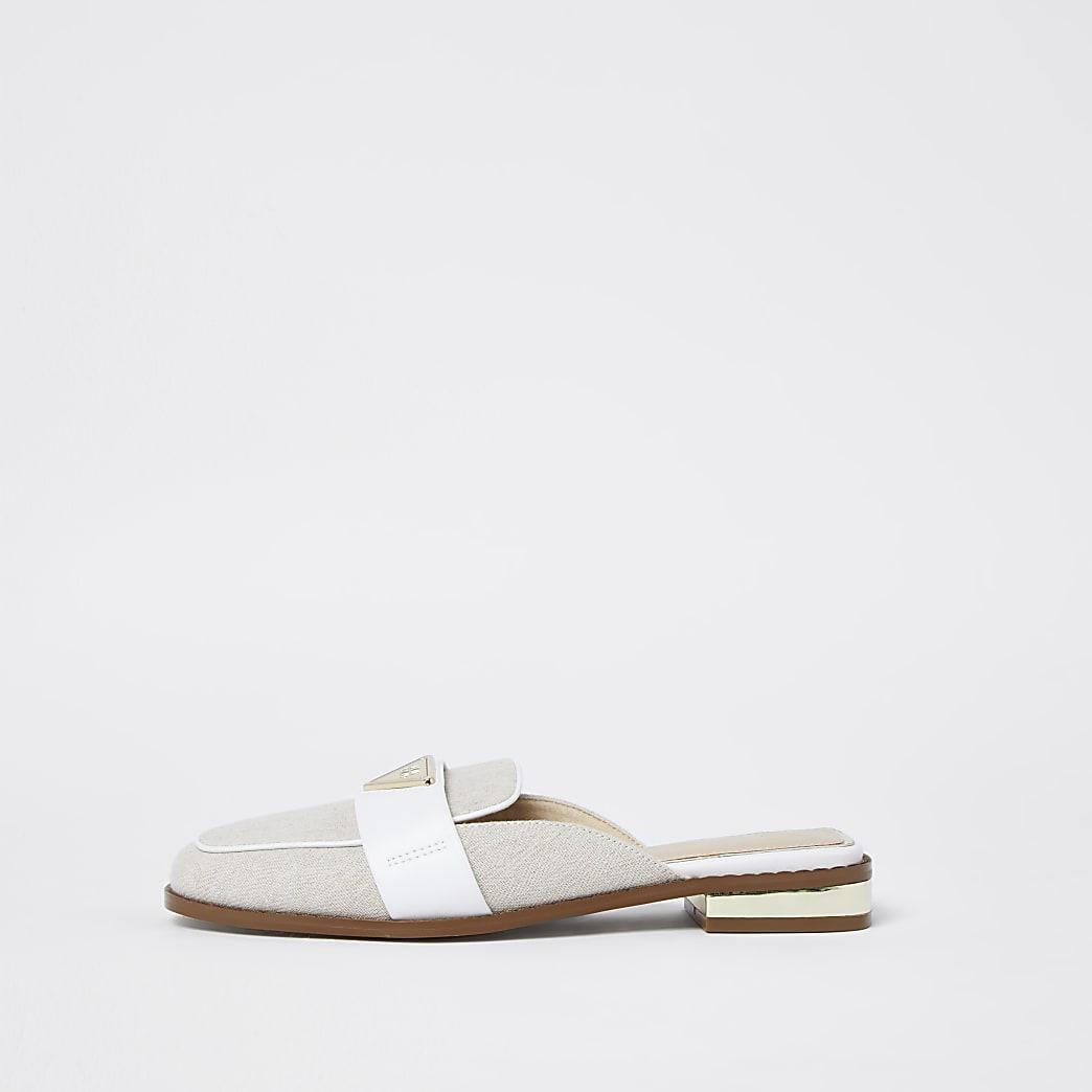 Beige RI mule loafers