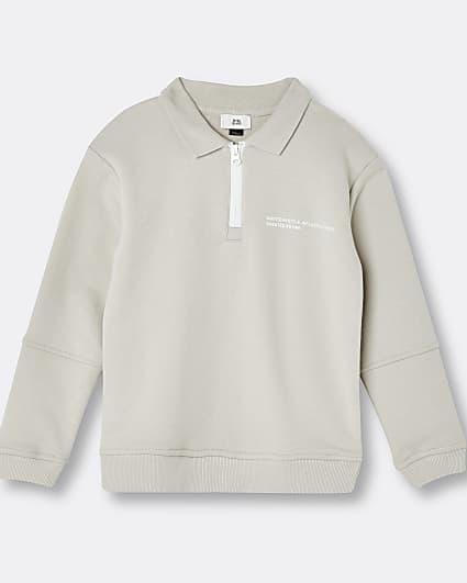 Beige RI ONE polo neck sweatshirt