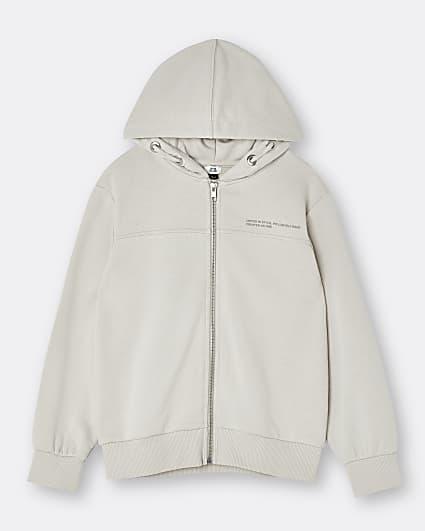 Beige RI ONE zip through hoodie