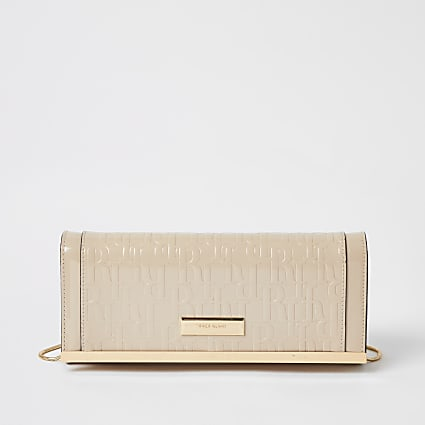 Beige RI patent embossed clutch bag