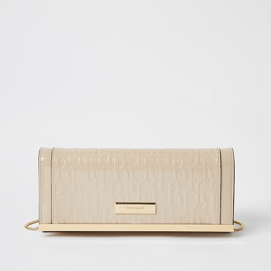 Beige RI patent embossed clutch handbag