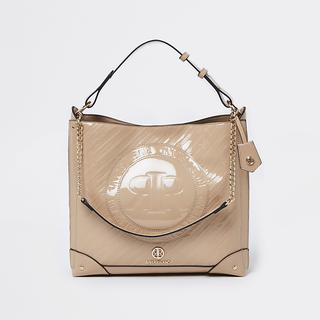 Beige RI patent embossed slouch bag