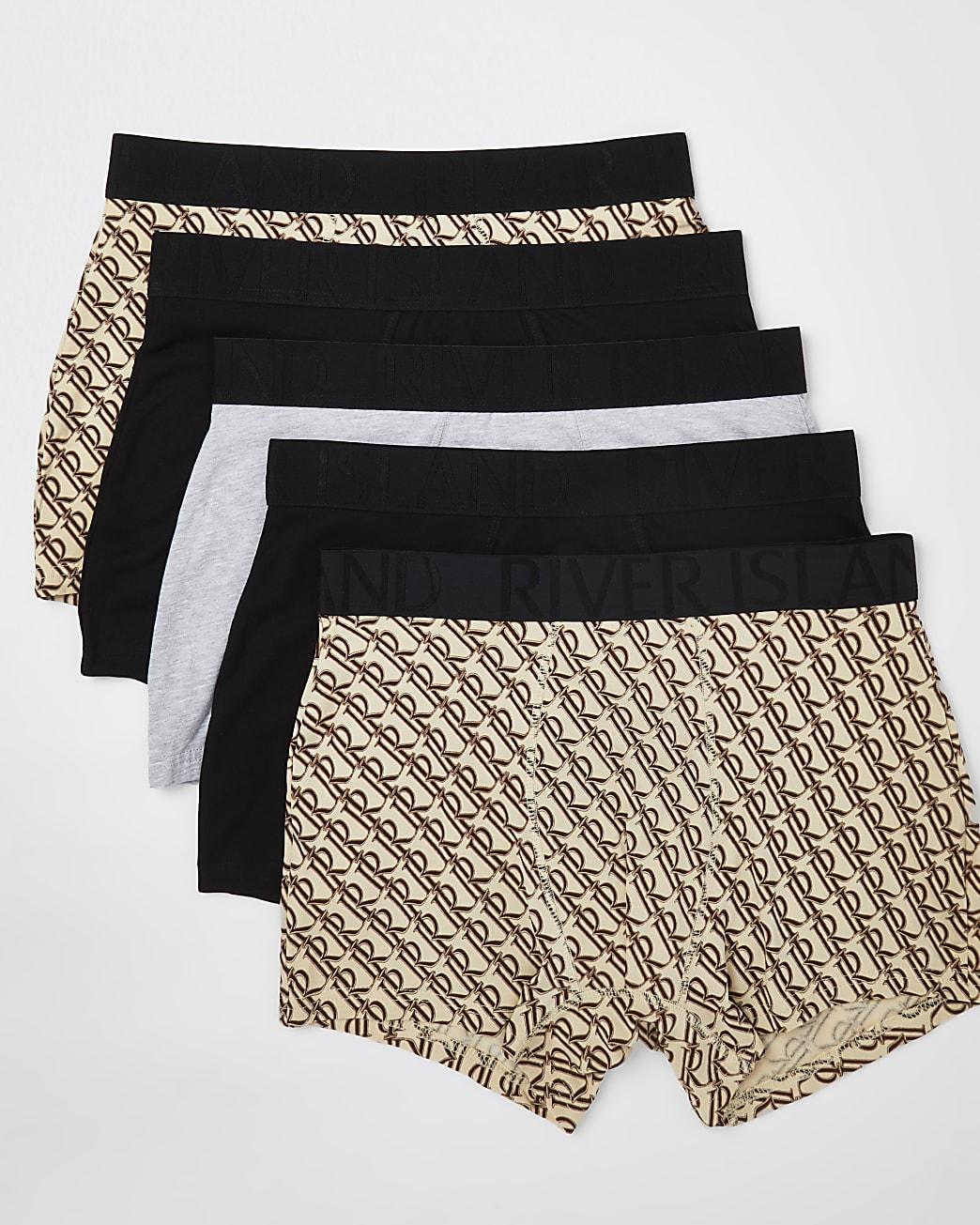 Beige RI print trunks 5 pack