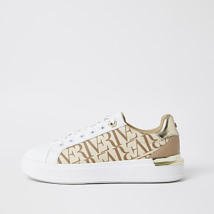 Beige RI printed lace up trainers