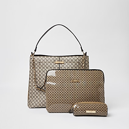 Beige RI slouch bag and laptop case set