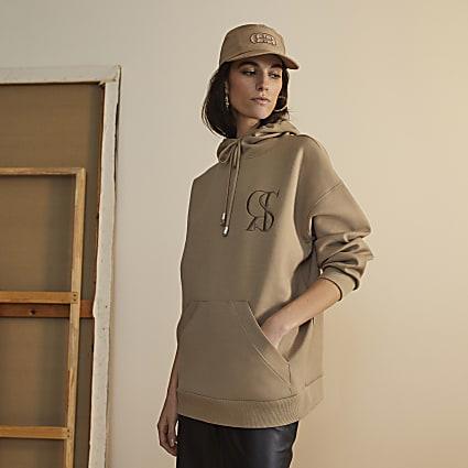 Beige RI Studio long sleeve hoodie