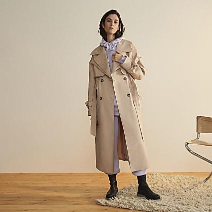 Beige RI Studio longline trench coat