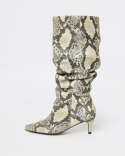 Beige RI Studio Snake Leather Slouch Boots