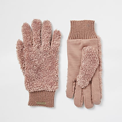 Beige RI teddy fleece gloves