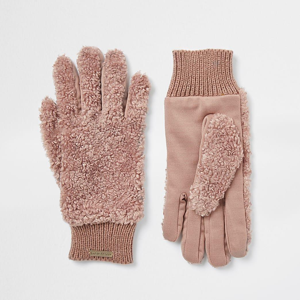 Beige RI teddy fleece gloves