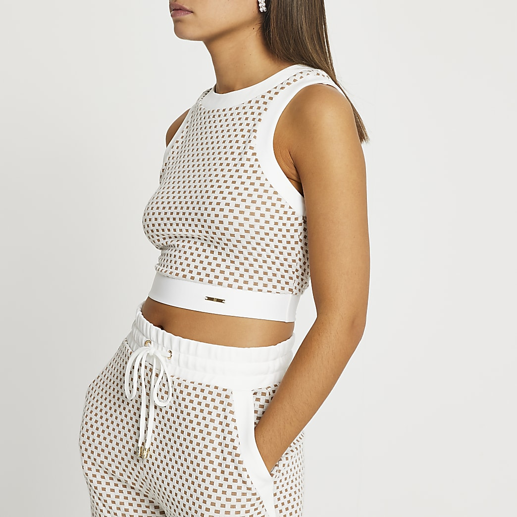 Beige RI textured jacquard racer crop top