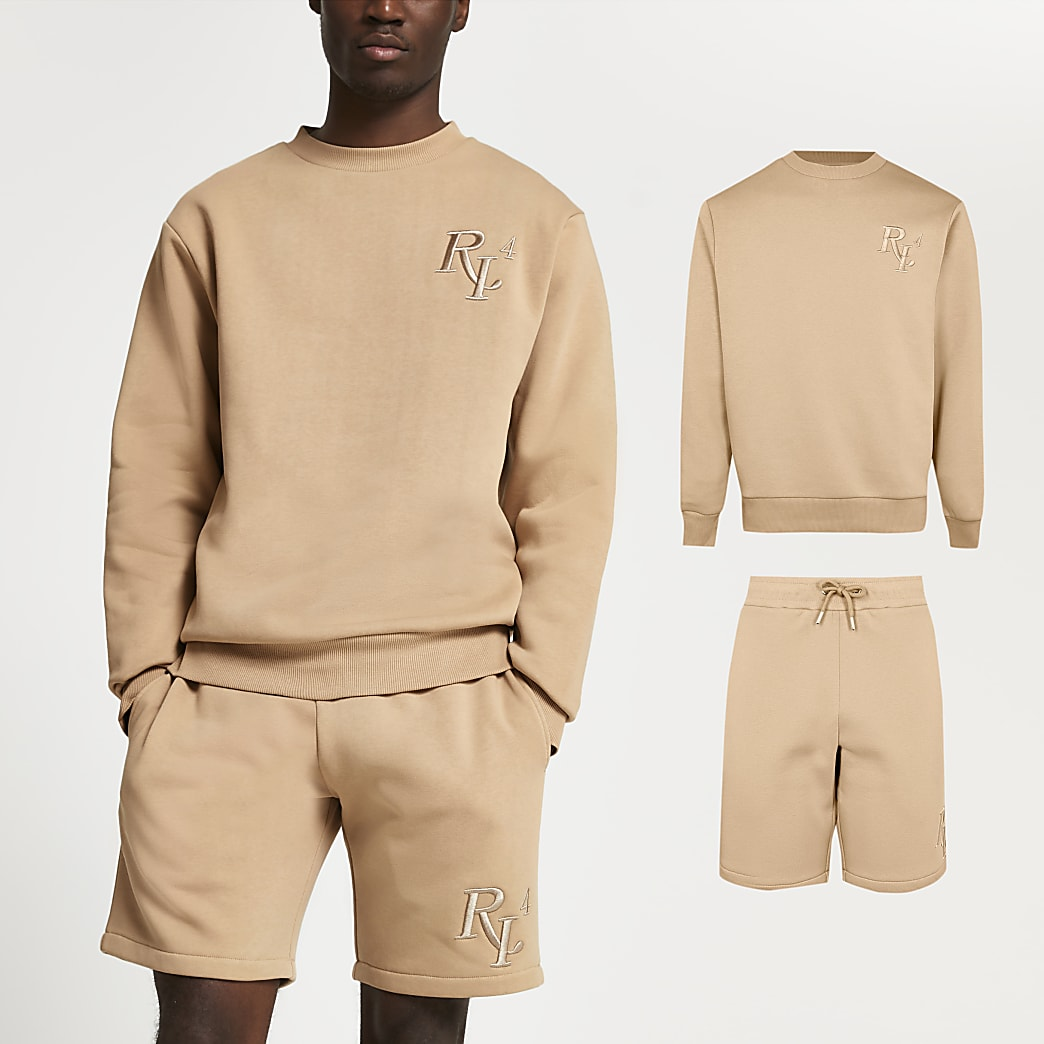 Beige RI4 slim fit sweatshirt & shorts set