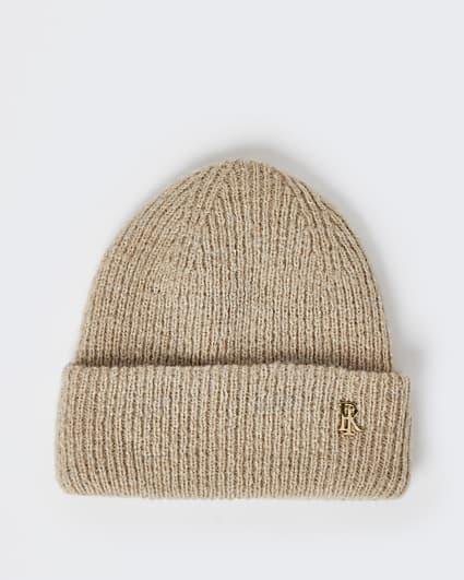 Beige ribbed beanie hat