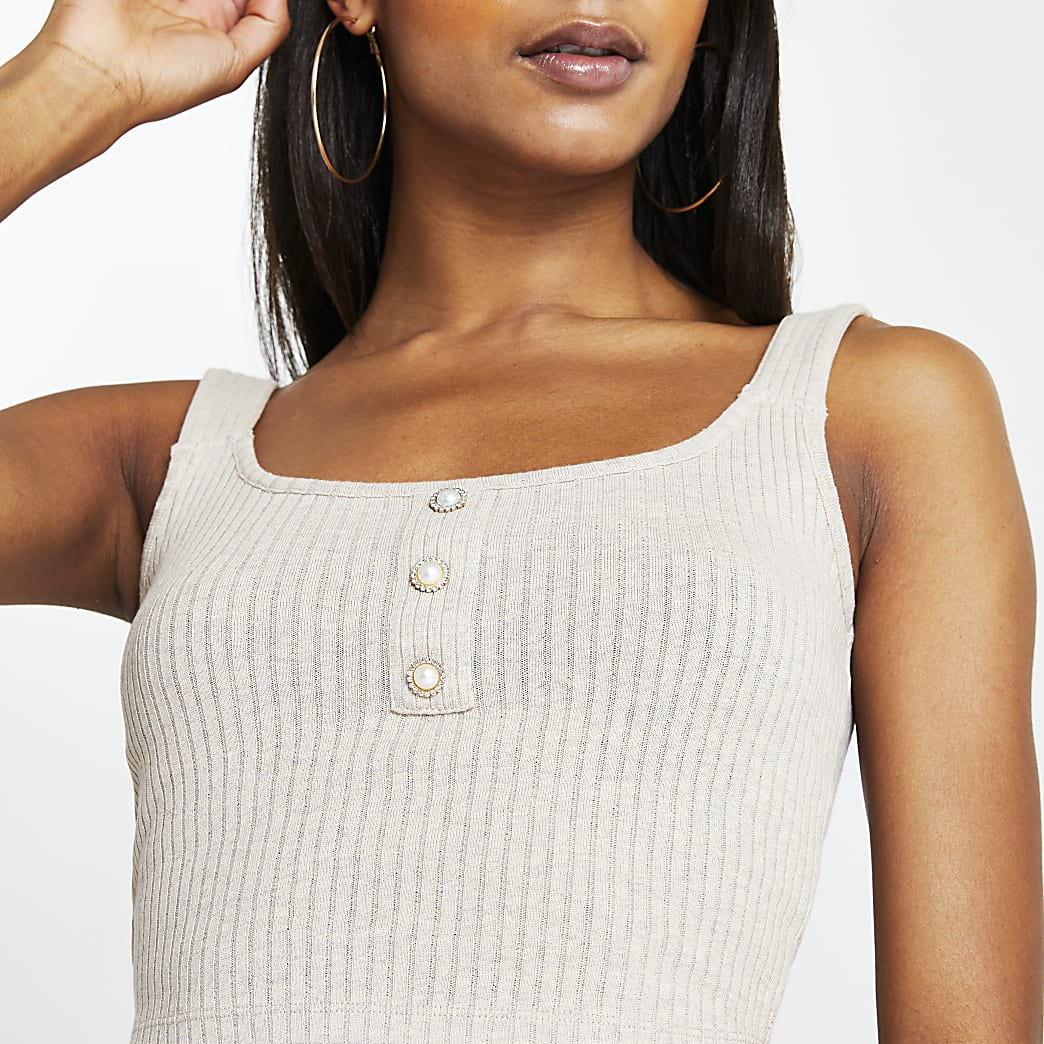 Beige ribbed button front cami top